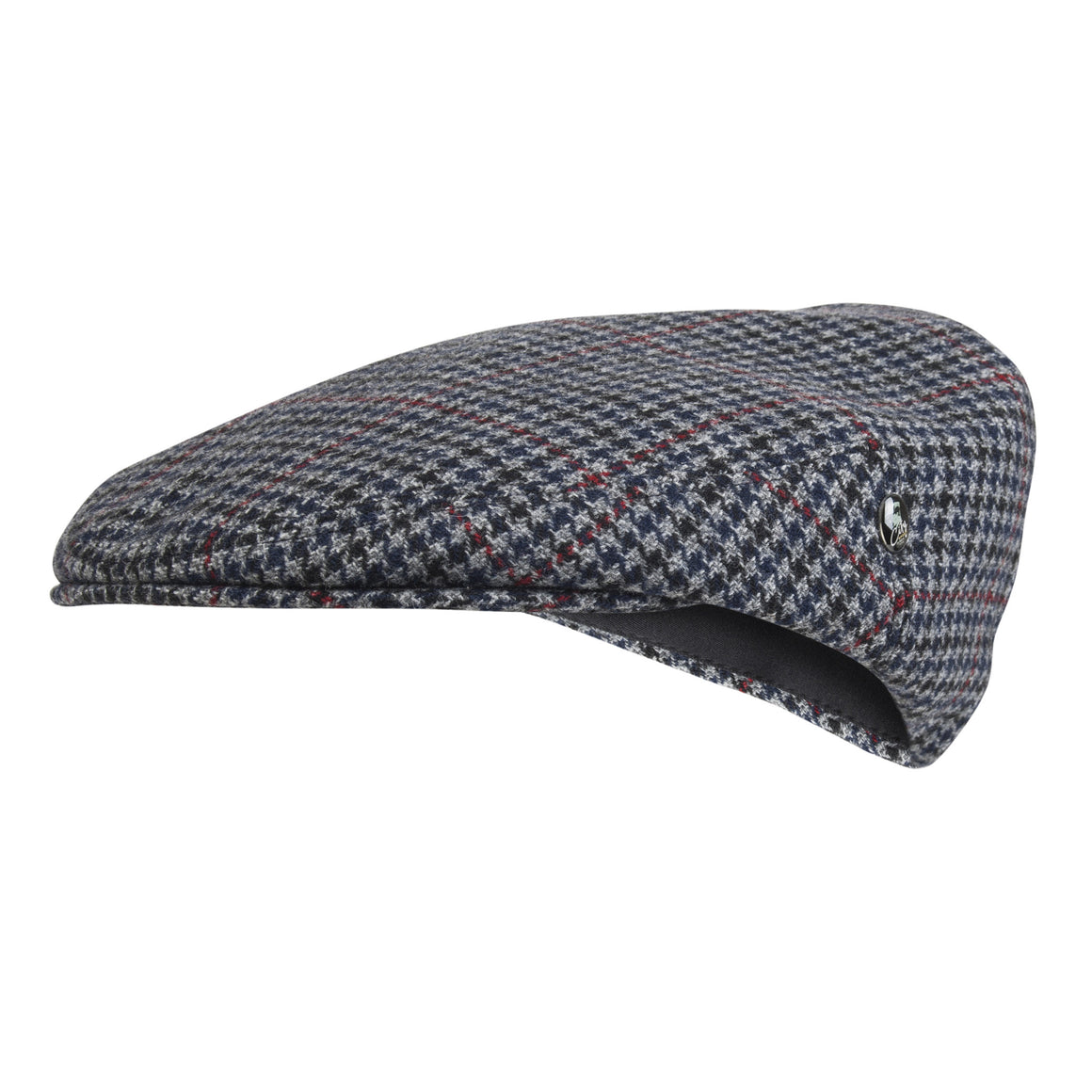 Wool Flat Cap | Grey Navy Houndstooth | buy now at The Cashmere Choice London