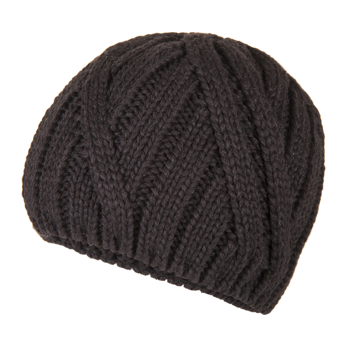 Black Wool Warm Cable Knit Beanie | buy now at The Cashmere Choice London
