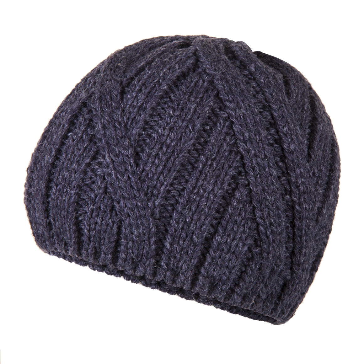 Blue Wool Warm Cable Knit Beanie | buy now at The Cashmere Choice London