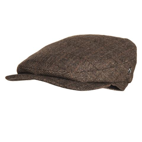 Brown herringbone wool cap | buy now at The Cashmere Choice London