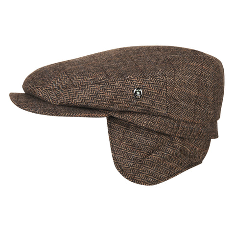 Brown herringbone wool cap with ear flaps | buy now at The Cashmere Choice London