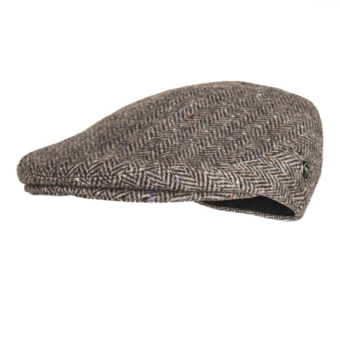 Donegal Tweed Cap | Tan Herringbone | buy now at The Cashmere Choice London