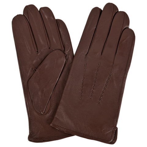 Mens Brown Leather Gloves | buy now at The Cashmere Choice London