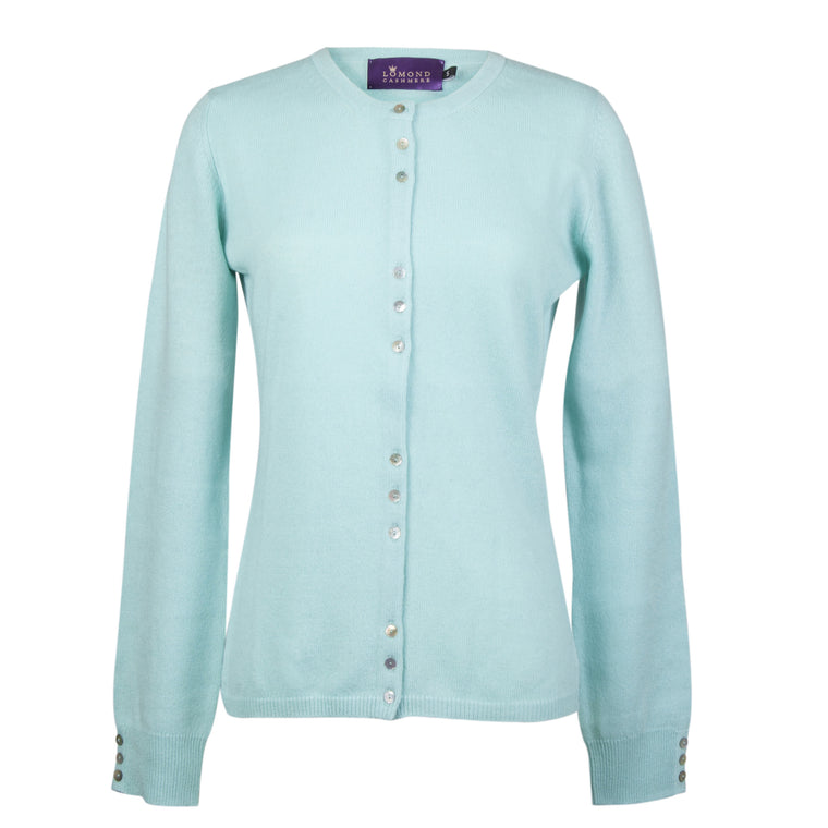 Aqua Blue Ladies Fitted Cashmere Round Neck Cardigan | buy now at The Cashmere Choice London