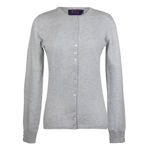 Light Grey Ladies Fitted Cashmere Round Neck Cardigan | buy now at The Cashmere Choice London