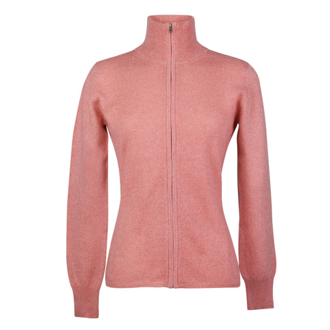 Coral Pink Ladies Fitted Cashmere Zip Cardigan | buy now at The Cashmere Choice London