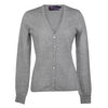 Ladies Fitted V Neck Cashmere Cardigan | Light Grey | Shop at The Cashmere Choice | London