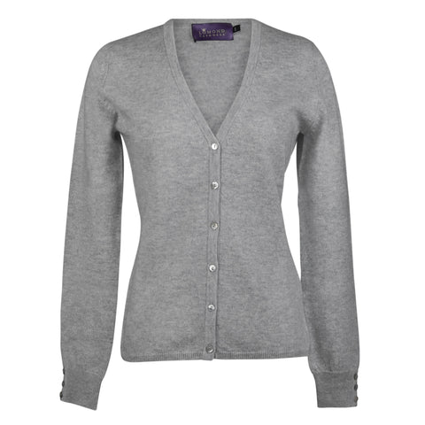 Light Grey Ladies Fitted Cashmere V Neck Cardigan | buy now at The Cashmere Choice London