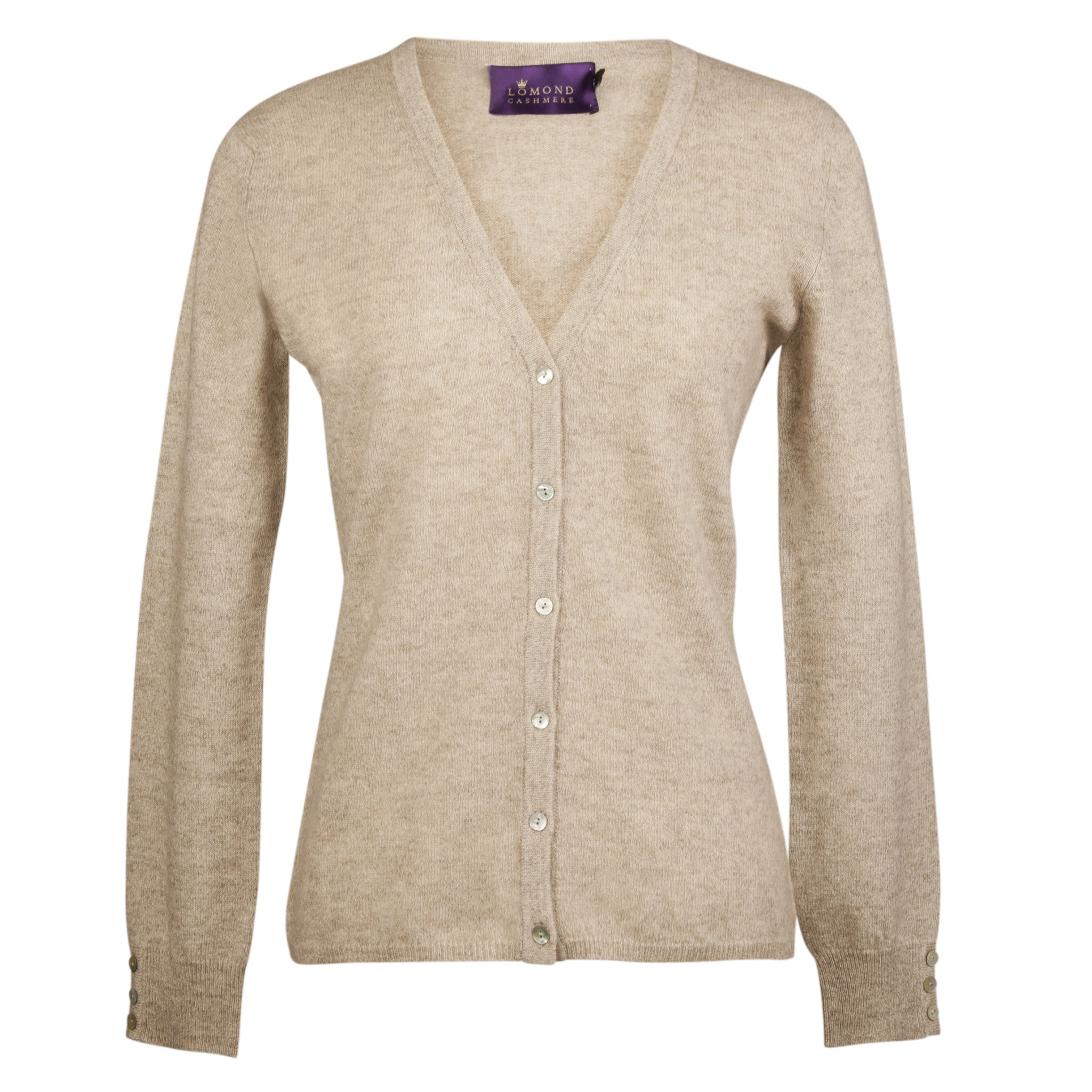 Natural Beige Oatmeal Ladies Fitted Cashmere V Neck Cardigan | buy now at The Cashmere Choice London
