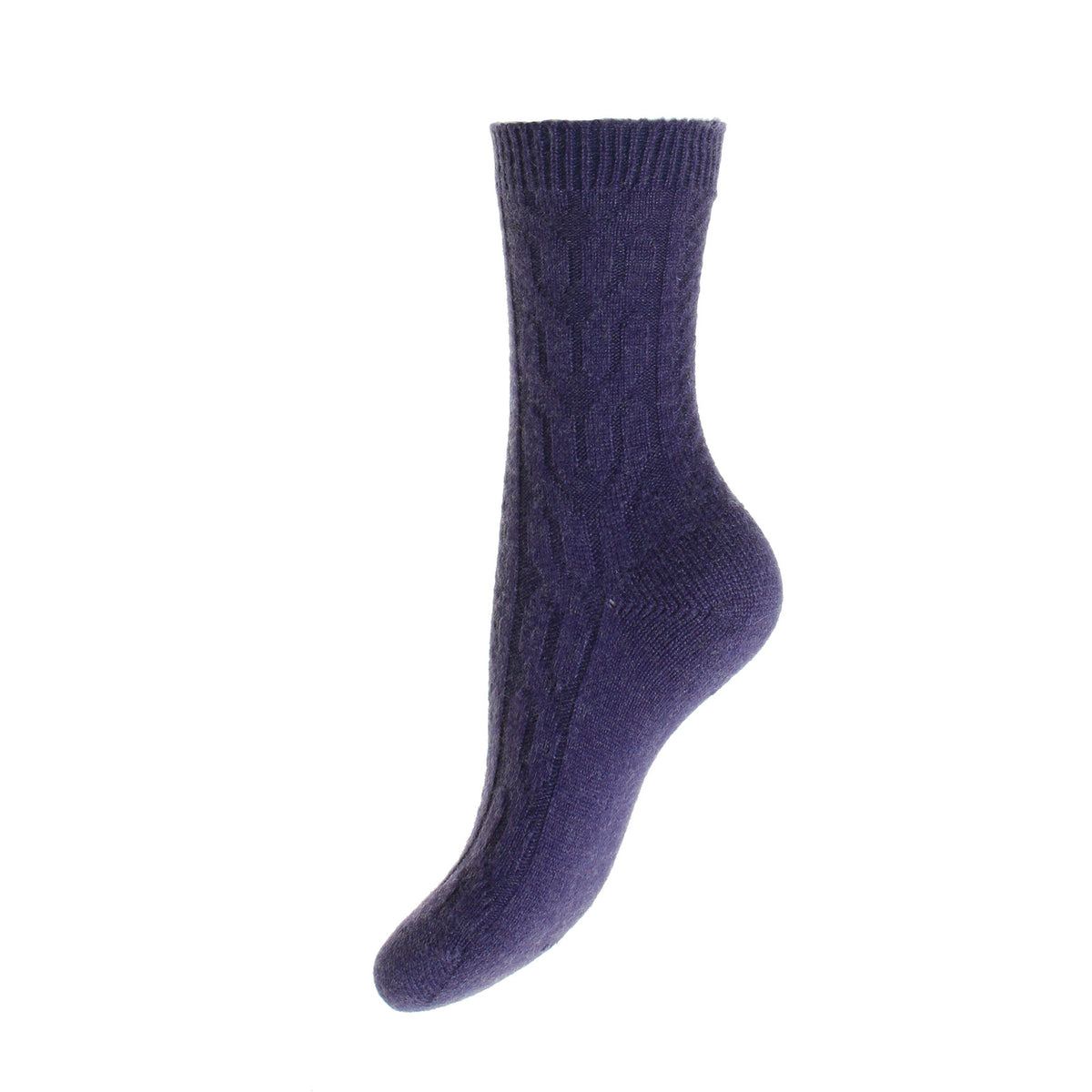 Purple Cable Knit Ladies Cashmere Socks | Ankle Sock | buy now at The Cashmere Choice London