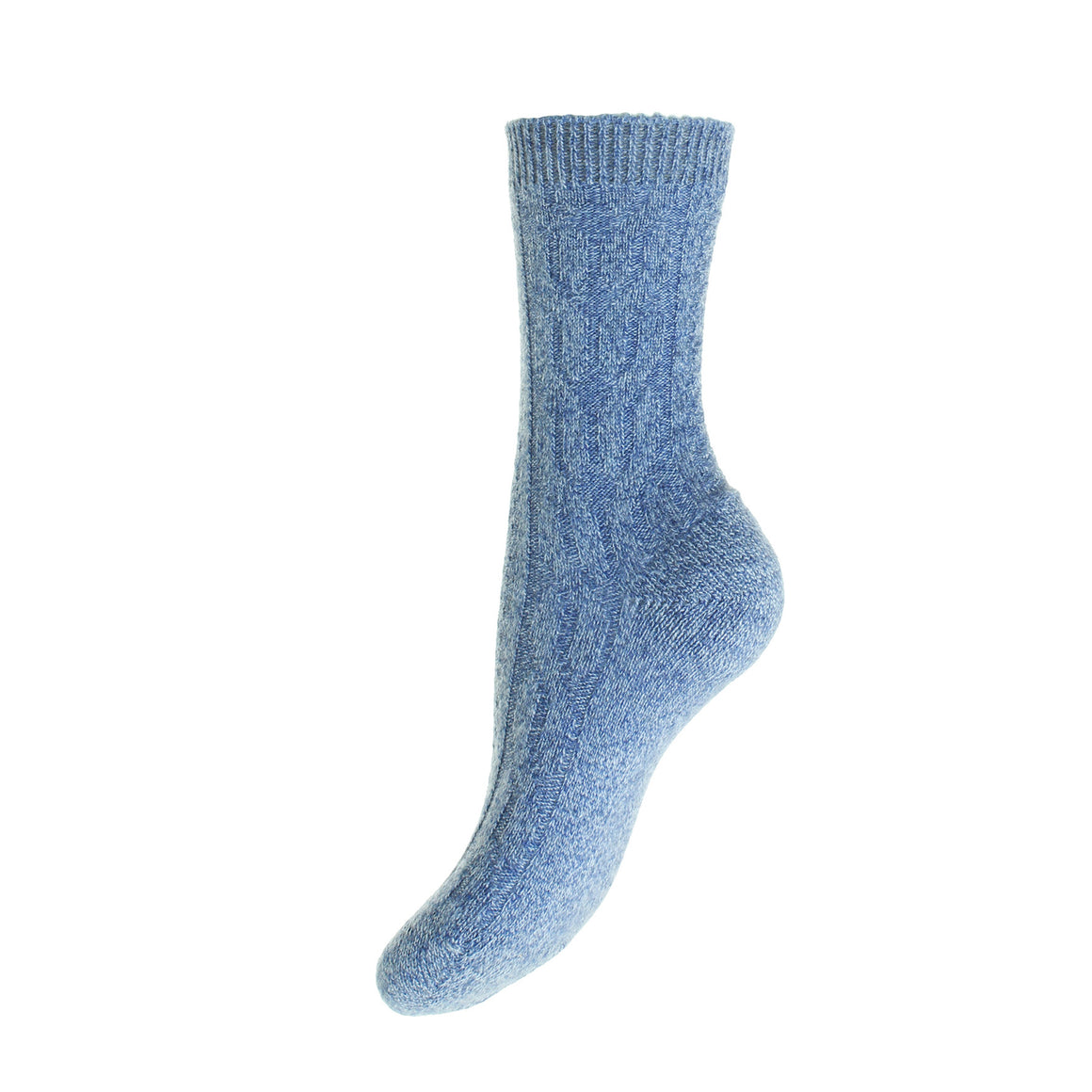 Blue Cable Knit Ladies Cashmere Socks | Ankle Sock | buy now at The Cashmere Choice London