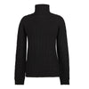 Black Ladies Cable Knit Cashmere Polo Neck Sweater | buy now at The Cashmere Choice London