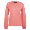Coral Pink Ladies Fitted Cashmere V Neck | buy now at The Cashmere Choice London