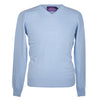 Mens Light Blue Cashmere V neck Sweater | Jumper | buy now at The Cashmere Choice London