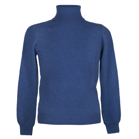Mens Blue Cashmere Sweater | Jumper | Polo Neck | buy now at The Cashmere Choice London