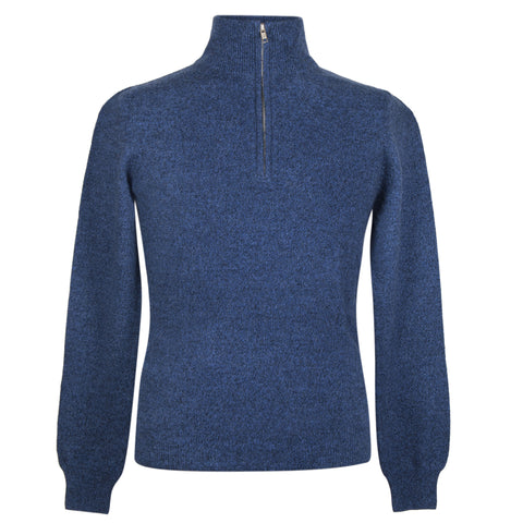 Mens Blue Marl Cashmere Sweater | Jumper | Zip Collar | buy now at The Cashmere Choice London