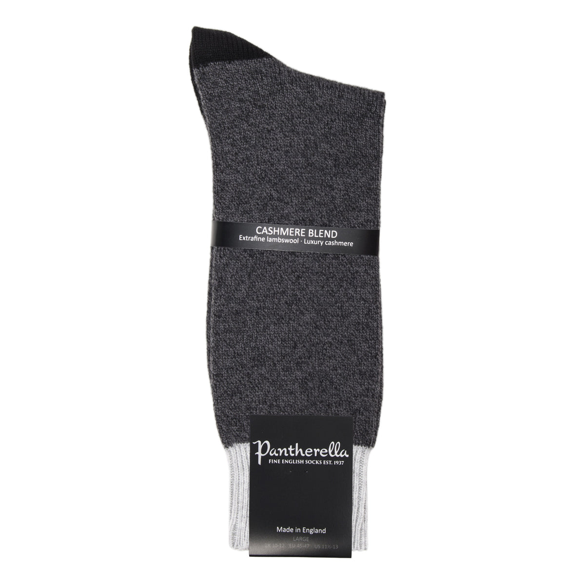 Grey Cashmere Blend Contrast Socks for Men | buy now at The Cashmere Choice London