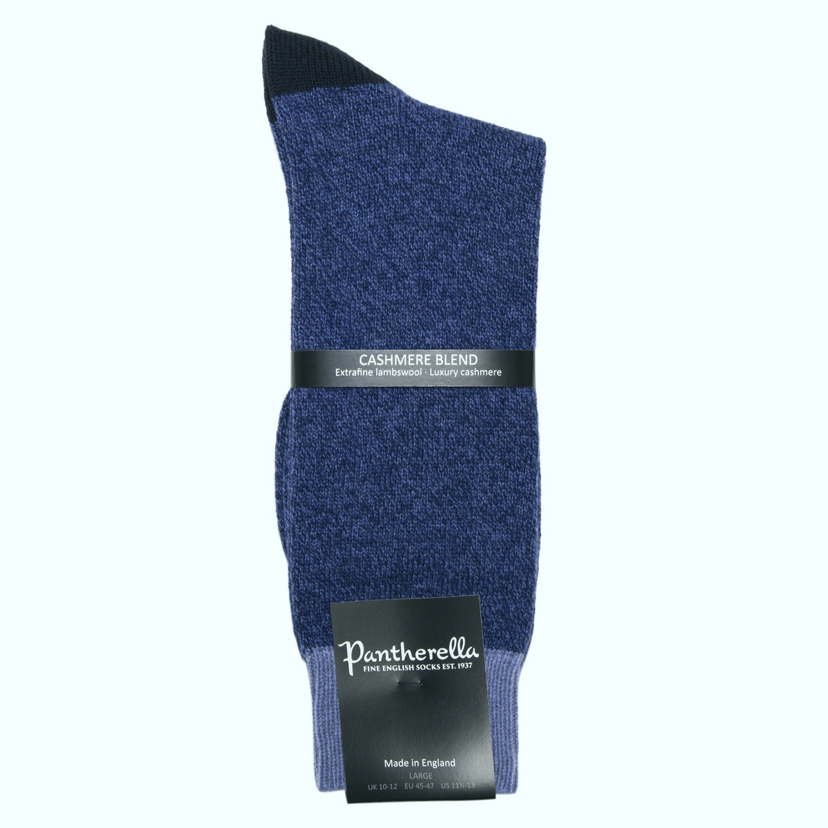 Dark Blue Cashmere Blend Contrast Socks for Men | buy now at The Cashmere Choice London