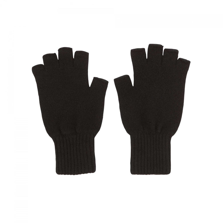 Black cashmere fingerless gloves | Made in Scotland | buy now at The Cashmere Choice | London