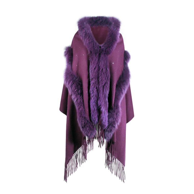 Purple Cashmere Cape with fur trim | buy at The Cashmere Choice | London