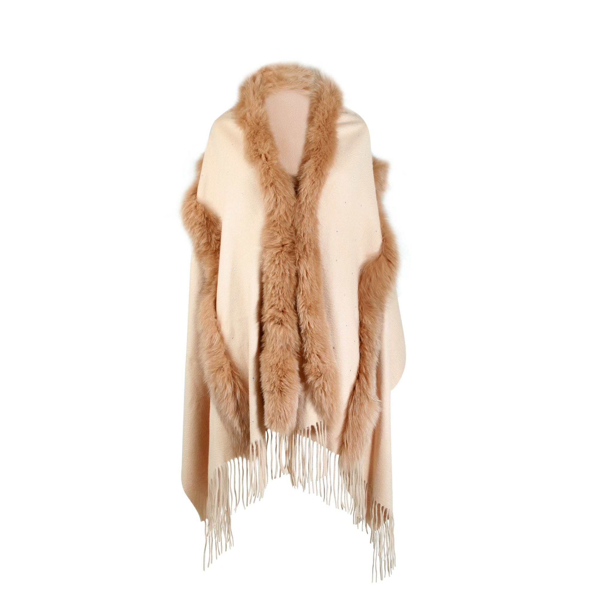Beige Camel Cashmere Cape with fur trim | buy at The Cashmere Choice | London