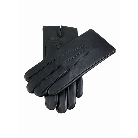 Black mens cashmere lined fine leather gloves | buy now at The Cashmere Choice London