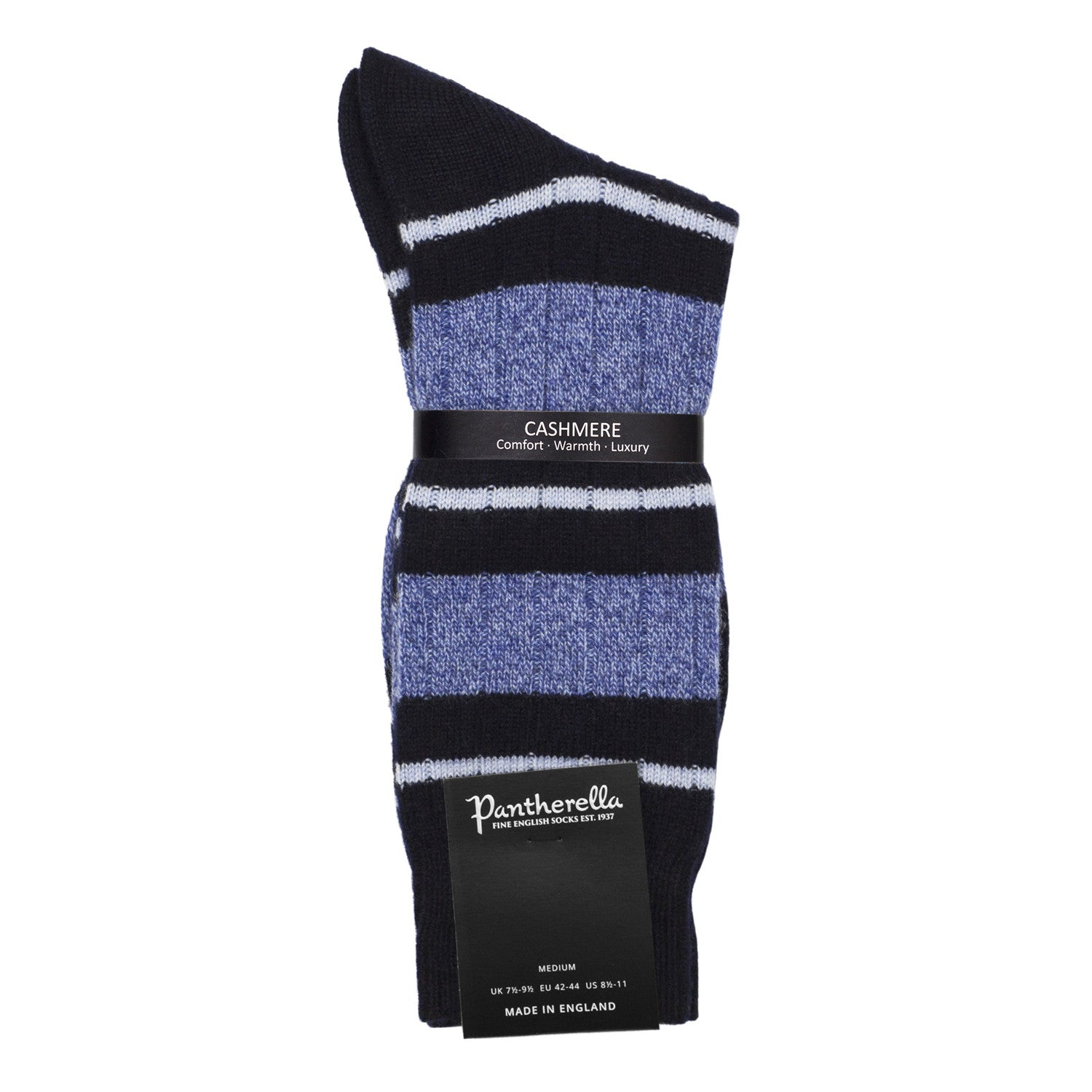 Pantherella Mens Cashmere Socks - Striped Navy
