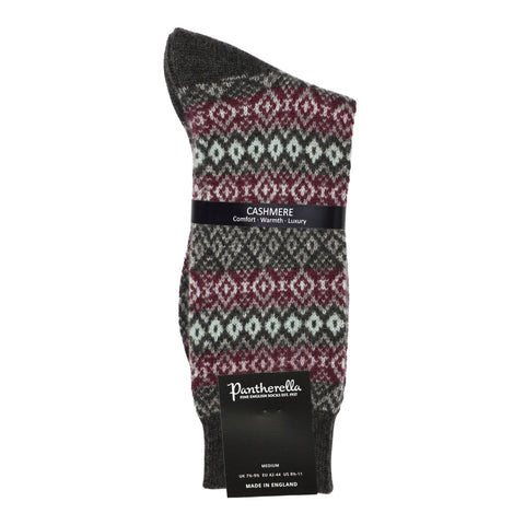 Pantherella Mens Cashmere Socks - Fairisle Charcoal Port