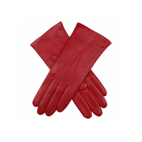 Red ladies cashmere lined soft leather gloves | buy now at The Cashmere Choice London