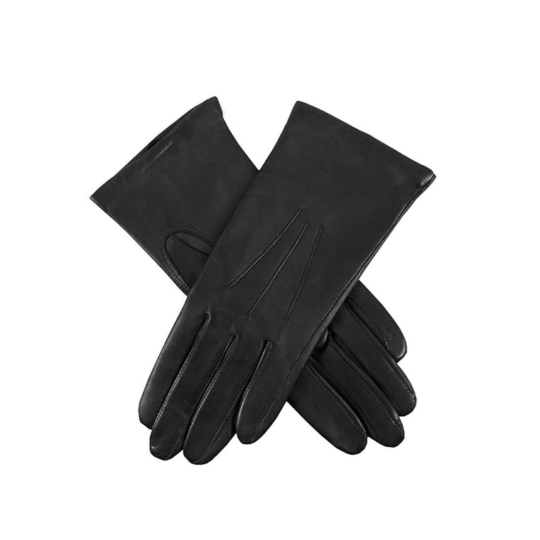 Black ladies cashmere lined soft leather gloves | buy now at The Cashmere Choice London