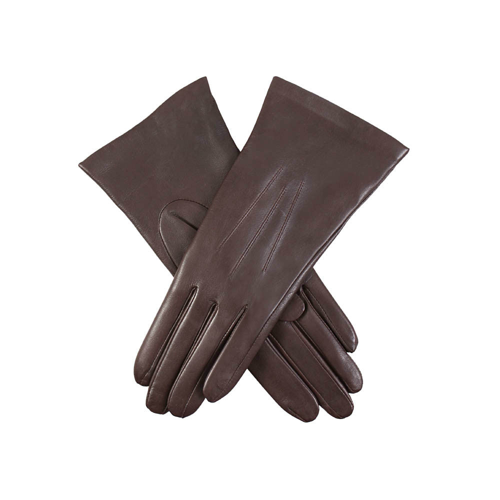 9ec1de949 ... Mocca Dark Brown ladies cashmere lined soft leather gloves | buy now at  The Cashmere Choice; Dents ...