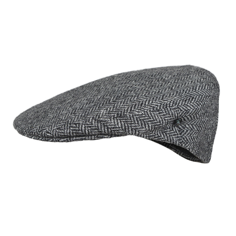 Wool Flat Cap | Laxdale Grey Black Herringbone | buy now at The Cashmere Choice London