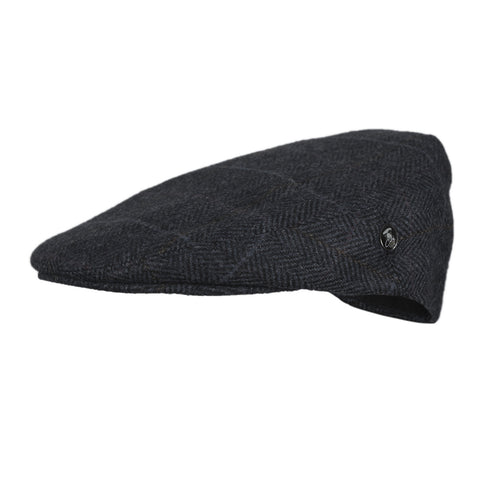 Wool Flat Cap | Navy Blue Herringbone | buy now at The Cashmere Choice London