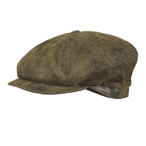 City Sport - Distressed Leather 8 Piece Baker Boy Cap - Marlon Brando