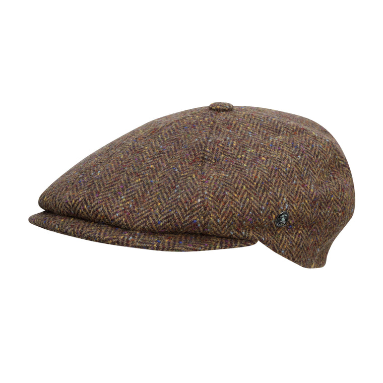 City Sport - Donegal Tweed 6 Piece News Boy Cap - Brown Speckled Herringbone 3172 | buy now at The Cashmere Choice | London
