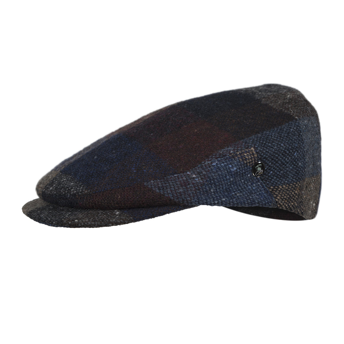Multicolour Tweed Flat Cap | Navy Olive | buy now at The Cashmere Choice London