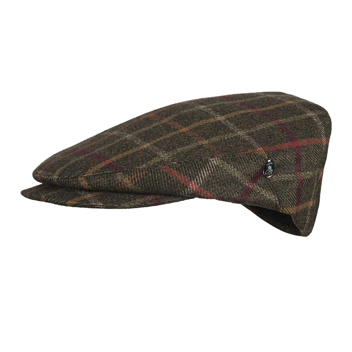 Wool Flat Cap | Country Green Bright Overcheck | buy now at The Cashmere Choice London