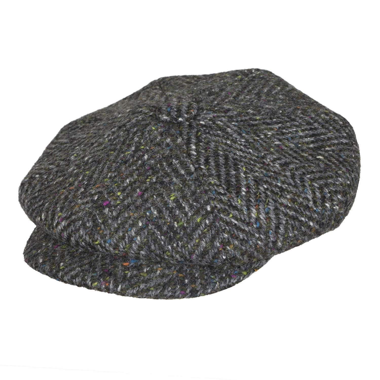 0111f720324f4 City Sport - Donegal Tweed 8 Piece Baker Boy Cap - Charocoal Grey Speckled  3045