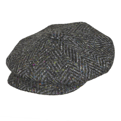 Donegal Tweed bakerboy cap | Grey Speckled | buy now at The Cashmere Choice London
