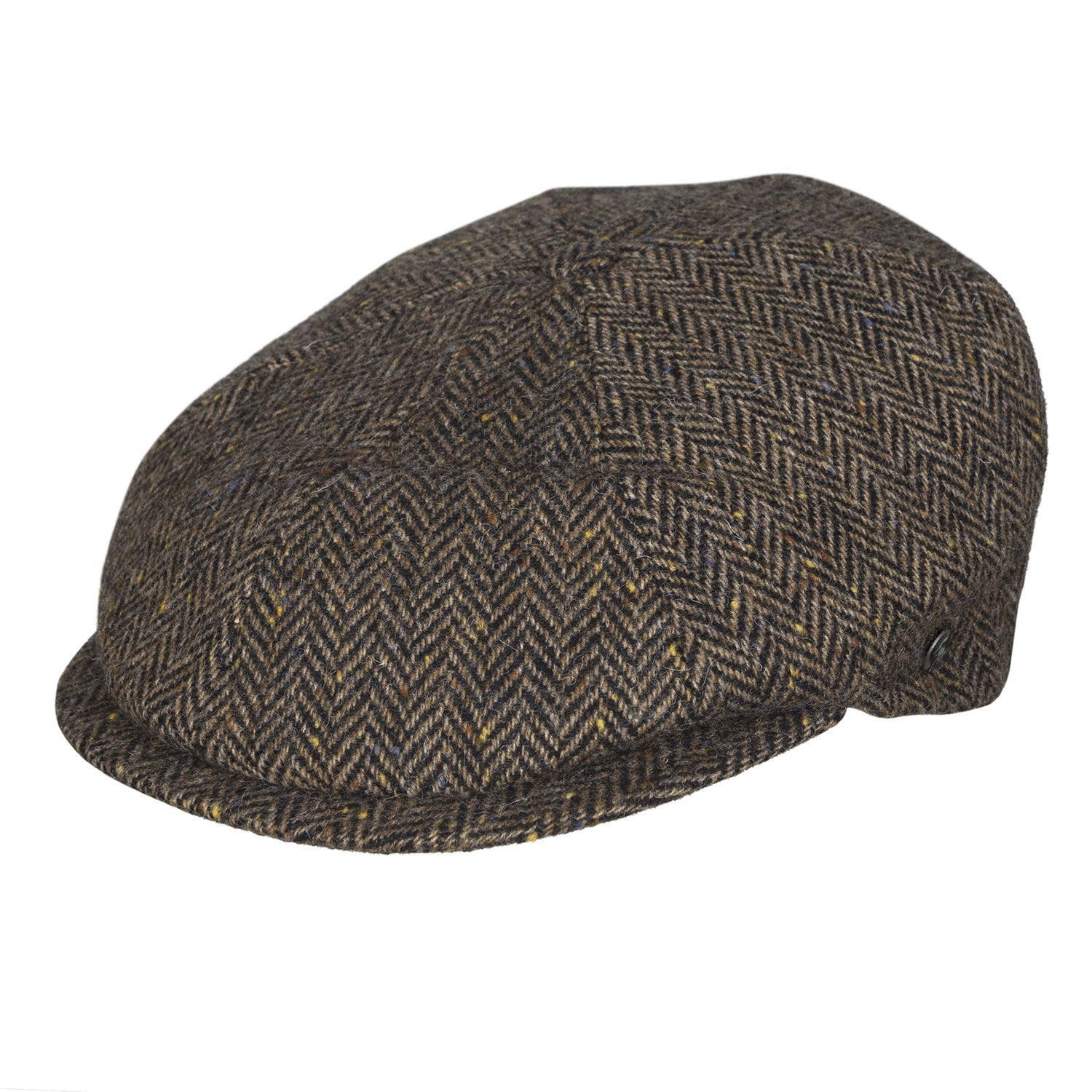 Donegal Tweed newsboy cap | Brown Herringbone | buy now at The Cashmere Choice London