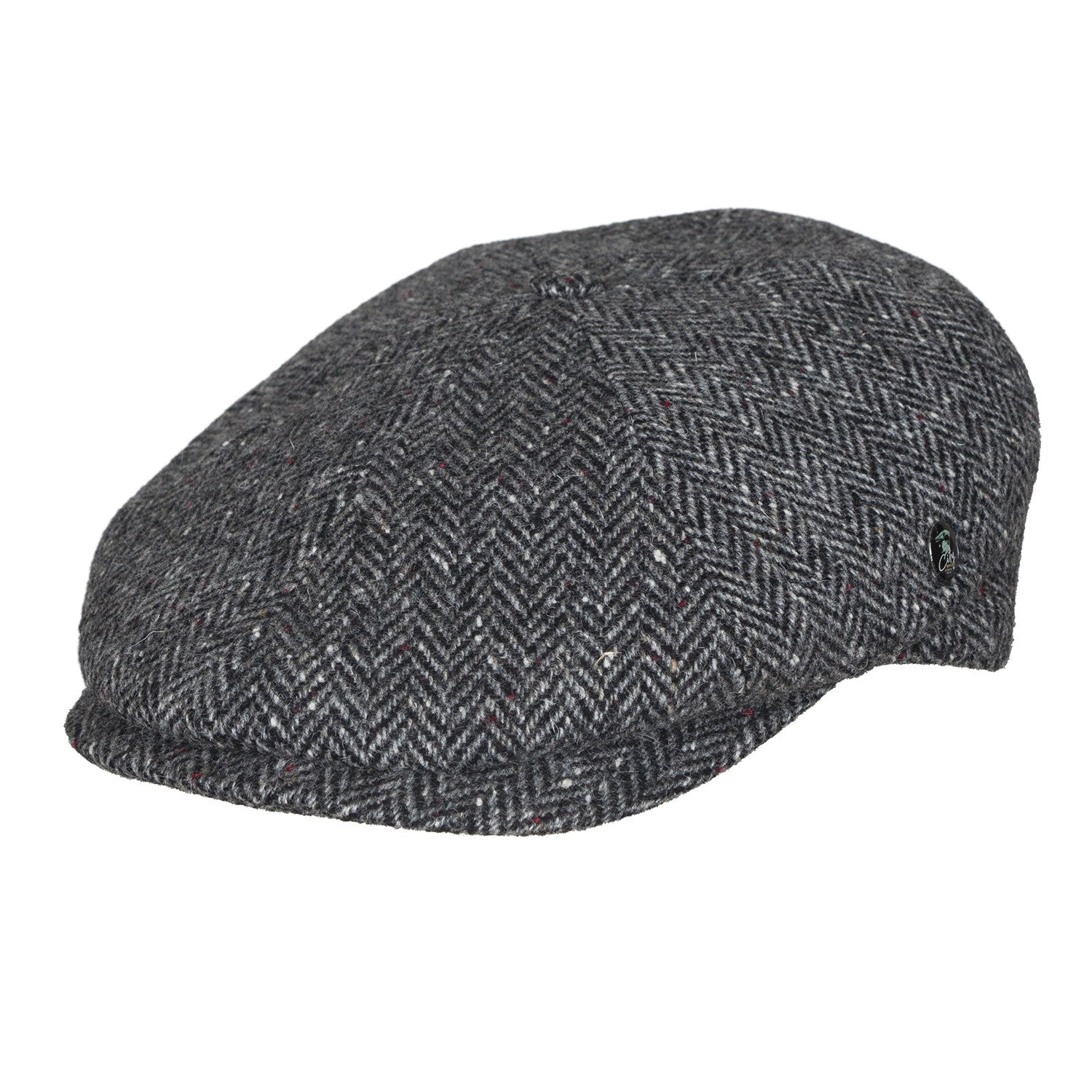 Donegal Tweed newsboy cap | Grey Herringbone | buy now at The Cashmere Choice London