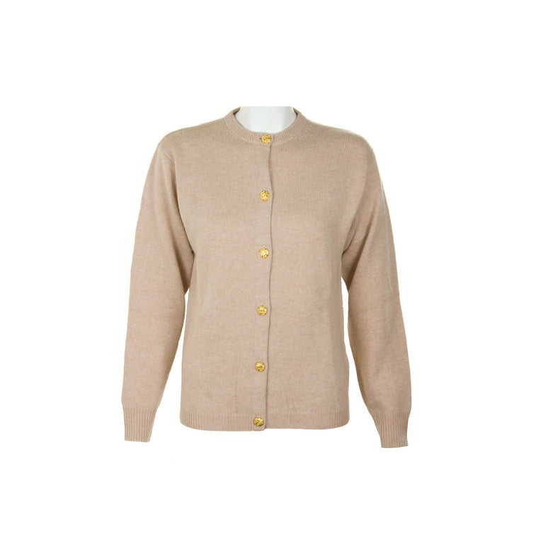 Ladies Beige Cashmere Sweater | Cardigan | The Cashmere Choice London