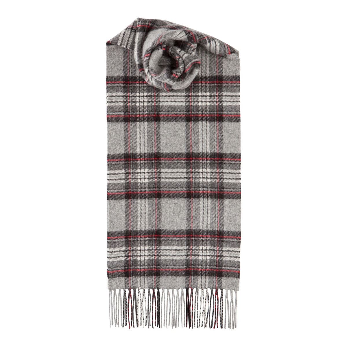 Johnsons of Elgin | Grey Stewart Tartan Check Cashmere Scarf | buy at The Cashmere Choice | London