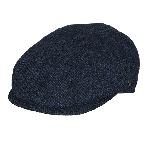 Donegal Tweed newsboy cap | Stranraer Navy Herringbone | buy now at The Cashmere Choice London