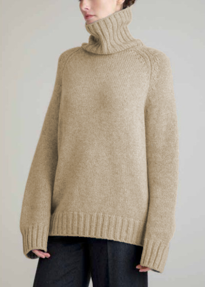 Johnsons Cashmere | Ladies 15-Ply Cashmere Chunky Polo Neck Sweater | Silver Grey | Shop now at The Cashmere Choice | London