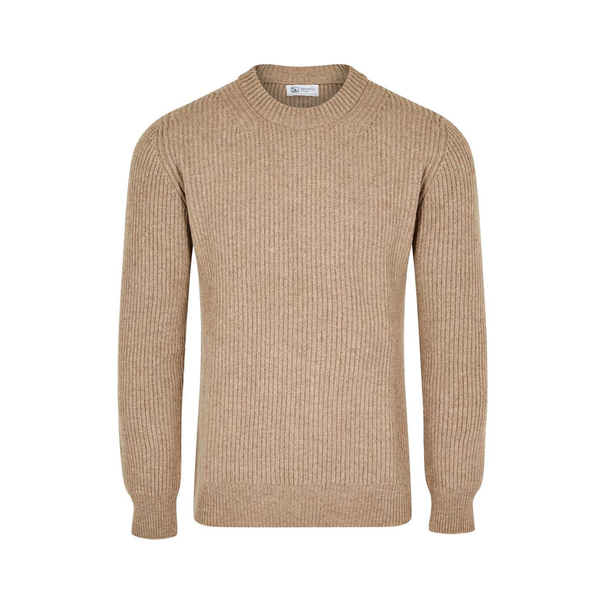 Johnsons Cashmere | Mens 12-Ply Cashmere Ribbed Round Neck Sweater | Otter Beige | Shop now at The Cashmere Choice | London