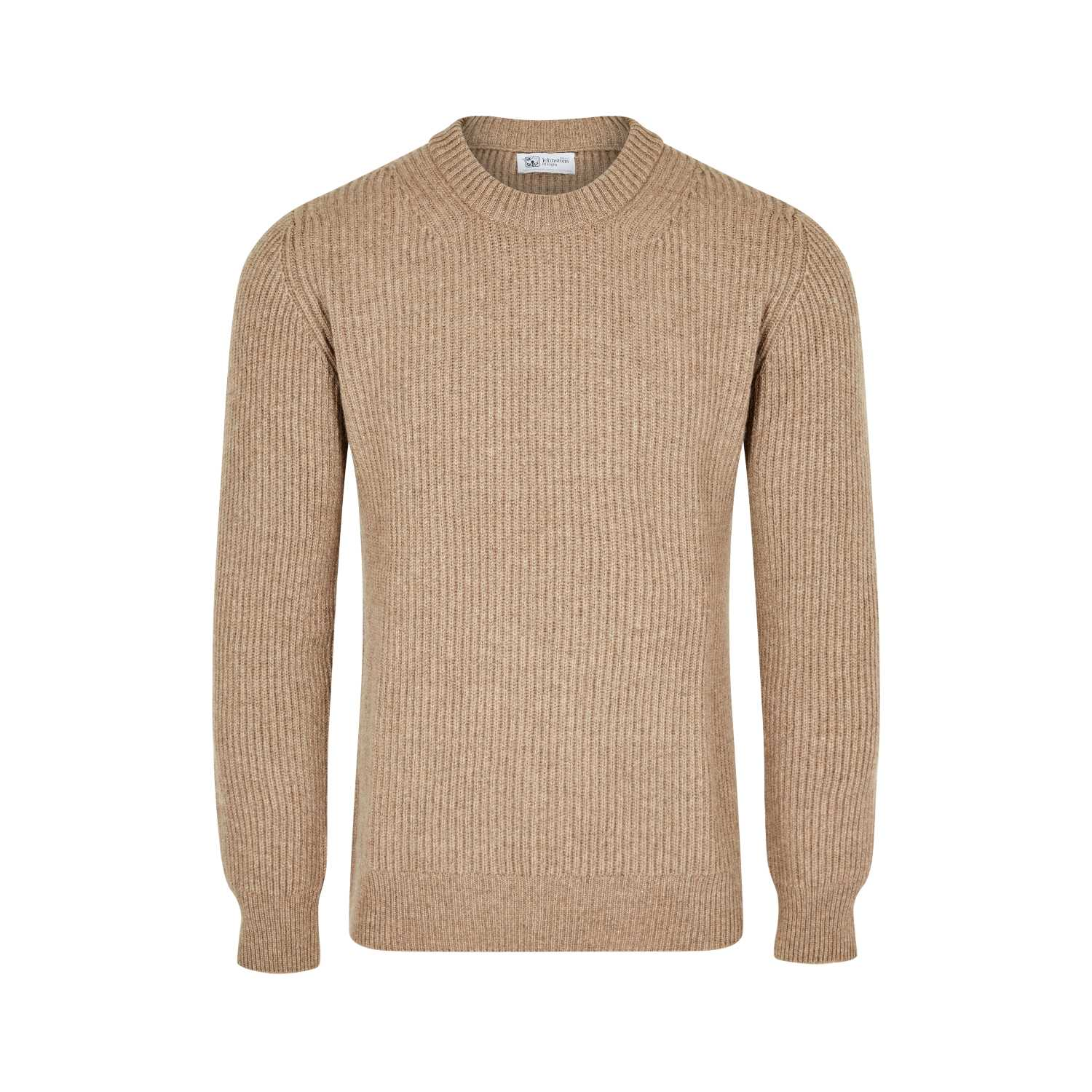 Johnsons Cashmere | Mens 12-Ply Cashmere Ribbed Round Neck Sweater | Navy Blue | Shop now at The Cashmere Choice | London