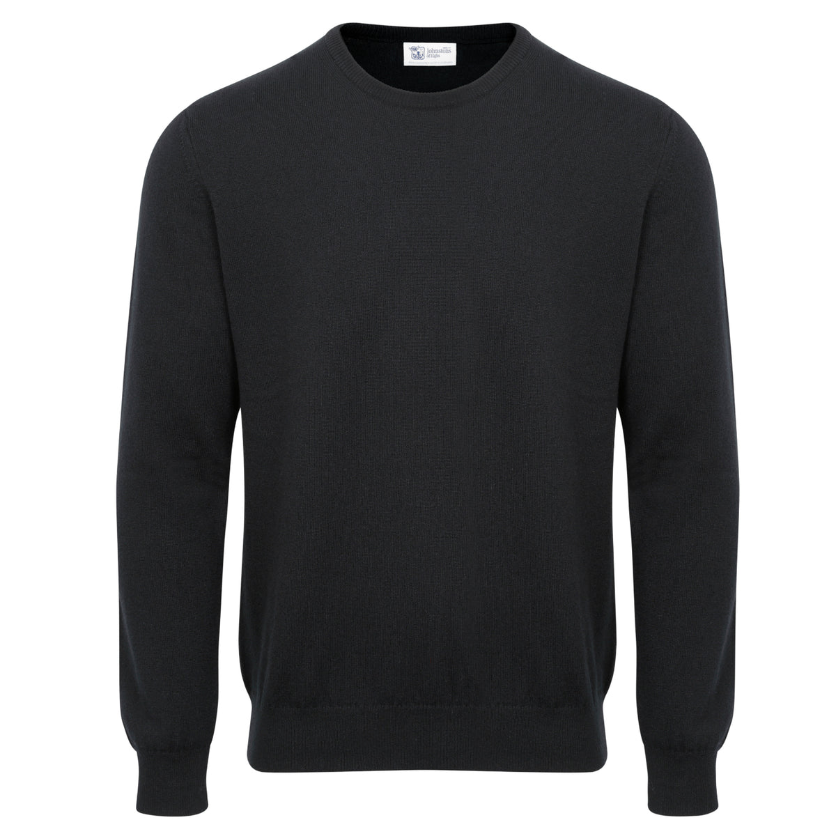 Johnstons of Elgin | Mens 2-Ply Cashmere Round Neck | Black | Shop now at The Cashmere Choice | London