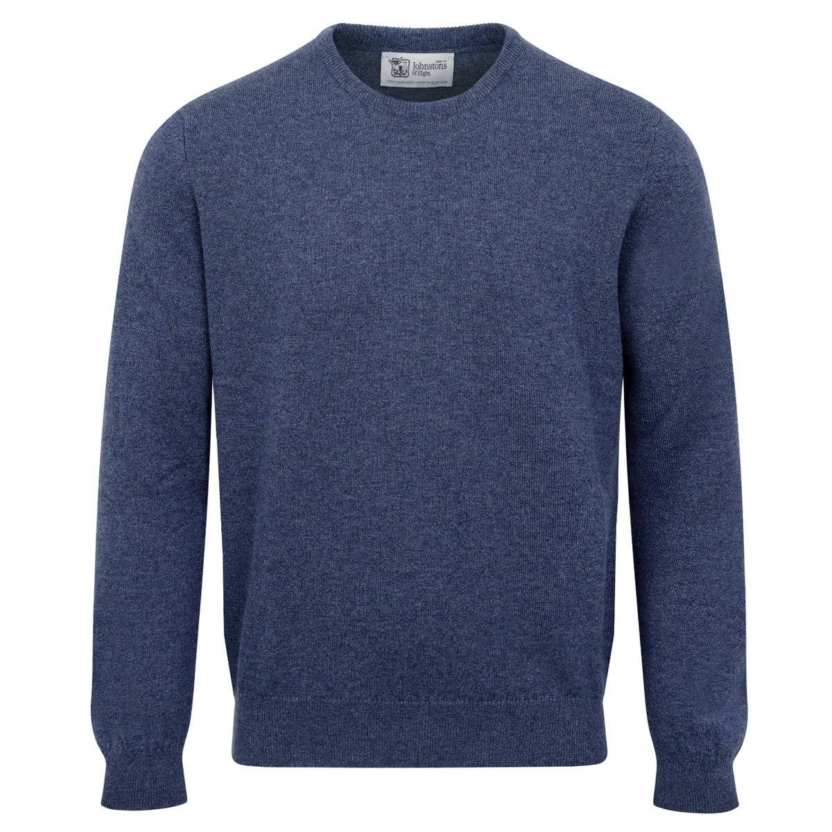 Johnstons of Elgin | Mens 2-Ply Cashmere Round Neck | Blue | Shop now at The Cashmere Choice | London