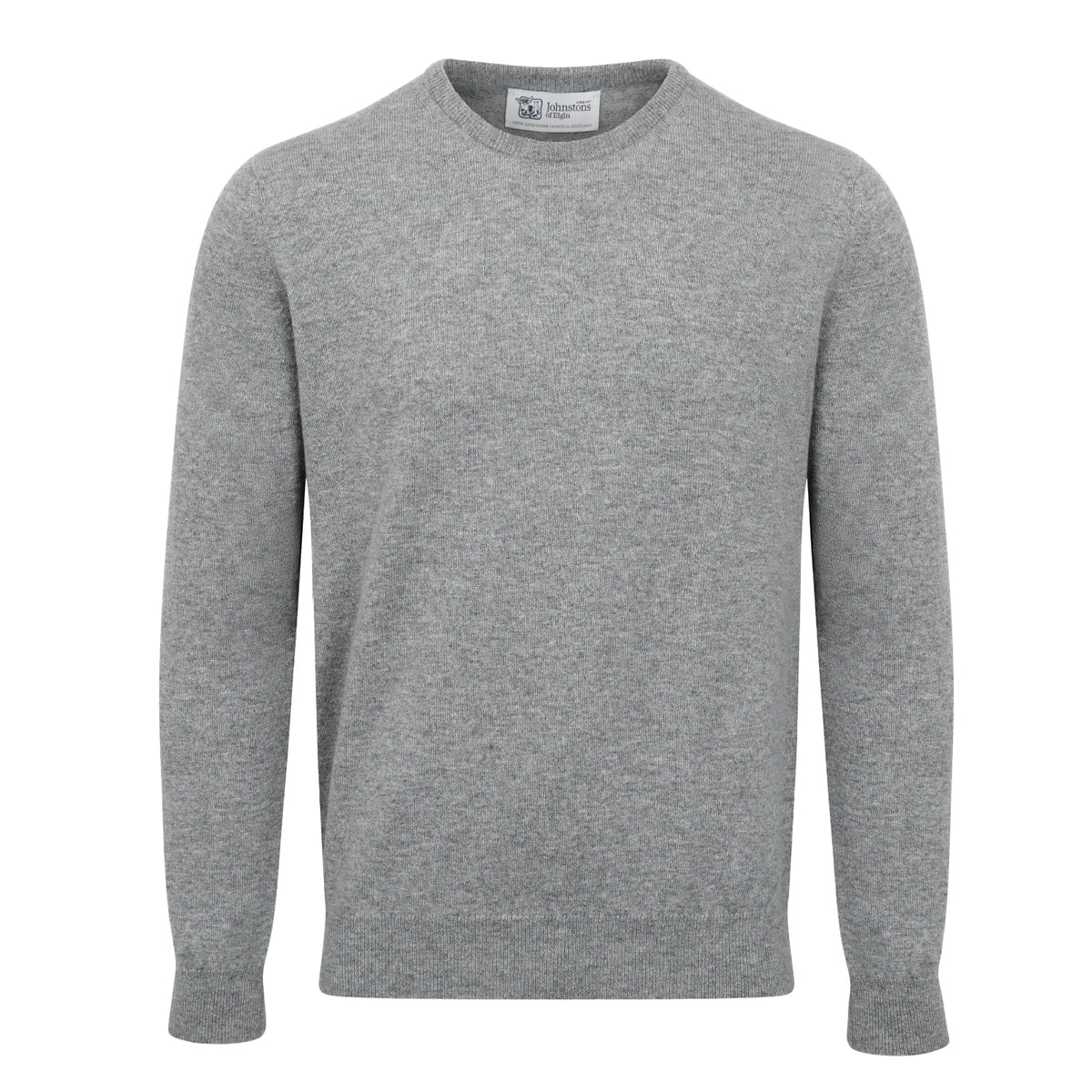 Johnstons of Elgin | Mens 2-Ply Cashmere Round Neck | Light Grey | Shop now at The Cashmere Choice | London